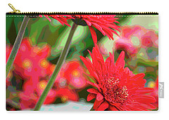 Three Red Gerberas Posterized Carry-all Pouch
