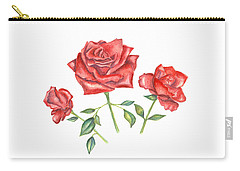 Carry-all Pouch featuring the mixed media Three Red Roses by Elizabeth Lock