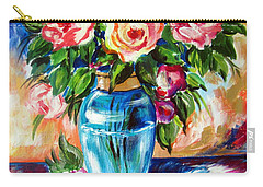 Carry-all Pouch featuring the painting Three Roses In A Glass Vase by Roberto Gagliardi