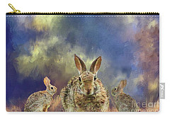 Carry-all Pouch featuring the photograph Three Scared Lagomorphs by Janette Boyd