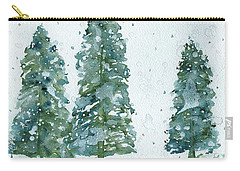 Carry-all Pouch featuring the painting Three Snowy Spruce Trees by Dawn Derman