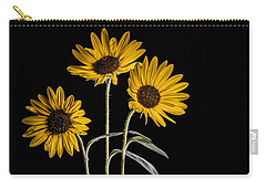 Three Sunflowers Light Painted On Black Carry-all Pouch by Vishwanath Bhat