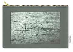 Carry-all Pouch featuring the photograph Three Swans by The Art Of Marilyn Ridoutt-Greene