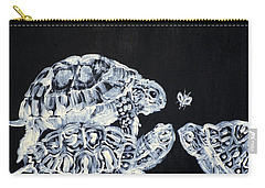 Carry-all Pouch featuring the painting Three  Terrapins And One Fly by Fabrizio Cassetta