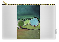 Carry-all Pouch featuring the mixed media Three Trees - Triple Landscape by Lenore Senior