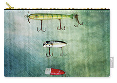 Three Vintage Fishing Lures Carry-all Pouch by Stephanie Frey