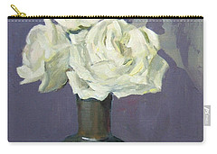Three White Roses With Abstract Background Carry-all Pouch