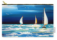 Three White Sails And A Seagull Carry-all Pouch