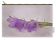 Three Wild Campanella Blossoms - Macro Carry-all Pouch by Sandra Foster