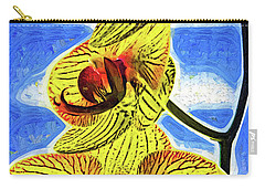 Carry-all Pouch featuring the digital art Three Yellow Orchid Blooms by Kirt Tisdale