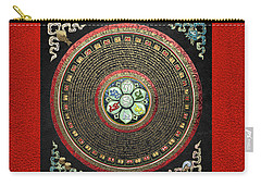 Tibetan Om Mantra Mandala In Gold On Black And Red Carry-all Pouch