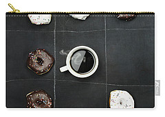 Tic Tac Toe Donuts And Coffee Carry-all Pouch by Stephanie Frey