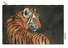 Carry-all Pouch featuring the painting Tiger At Night by David Stribbling