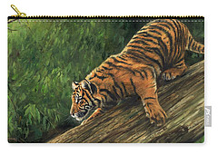 Carry-all Pouch featuring the painting Tiger Descending Tree by David Stribbling
