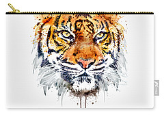 Carry-all Pouch featuring the mixed media Tiger Face Close-up by Marian Voicu