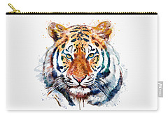 Tiger Head Watercolor Carry-all Pouch by Marian Voicu