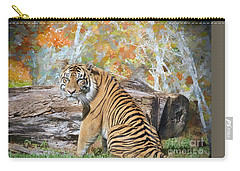 Carry-all Pouch featuring the painting Tiger In Spring by Judy Kay