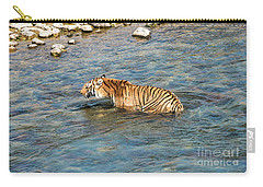 Tiger In The Water Carry-all Pouch by Pravine Chester
