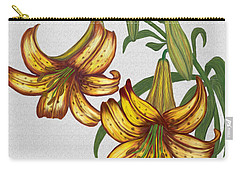 Carry-all Pouch featuring the digital art Tiger Lily Blossom  by Walter Colvin