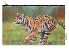 Carry-all Pouch featuring the painting Tiger Running by David Stribbling