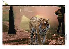 Tiger Walking Down A Snow Slushy Street Carry-all Pouch by Wernher Krutein