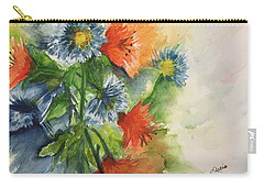 Carry-all Pouch featuring the painting Tigerlilies And Cornflowers by Lucia Grilletto