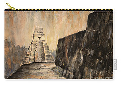 Carry-all Pouch featuring the painting Tikal Ruins- Guatemala by Ryan Fox