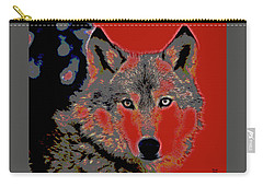 Carry-all Pouch featuring the mixed media Timber Wolf by Charles Shoup