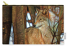 Timber Wolf Colorful Art Carry-all Pouch by Eleanor Abramson