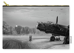 Carry-all Pouch featuring the photograph Time To Go - Lancasters On Dispersal Bw Version by Gary Eason