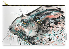 Carry-all Pouch featuring the painting Timid Hare by Zaira Dzhaubaeva