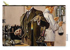 Carry-all Pouch featuring the painting Timing An Experiment Frank Leyendecker 1910 by Peter Gumaer Ogden
