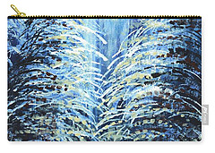 Carry-all Pouch featuring the painting Tim's Winter Forest by Holly Carmichael