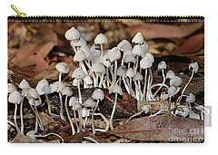 Carry-all Pouch featuring the photograph Tiny Corrugated Fungi By Kaye Menner by Kaye Menner