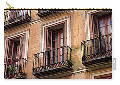 Carry-all Pouch featuring the photograph Tiny Iron Balconies by T Brian Jones