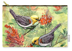 Carry-all Pouch featuring the painting Tiny Verdin In Honeysuckle by Marilyn Smith