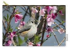 Titmouse And Peach Blossoms Carry-all Pouch