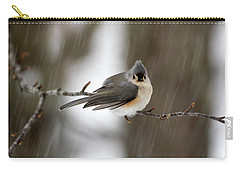 Titmouse During Snow Storm Carry-all Pouch