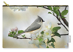 Carry-all Pouch featuring the mixed media Titmouse In Blossoms 1 by Lori Deiter