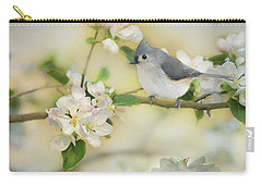 Carry-all Pouch featuring the mixed media Titmouse In Blossoms 2 by Lori Deiter