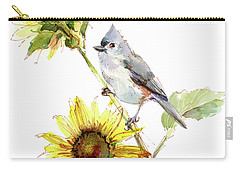 Titmouse With Sunflower Carry-all Pouch