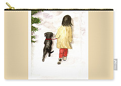 Together - Black Labrador And Woman Walking Carry-all Pouch