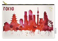 Tokyo Skyline Watercolor Poster - Cityscape Painting Artwork Carry-all Pouch by Beautify My Walls