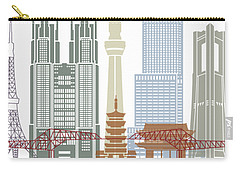 Tokyo V2 Skyline Poster Carry-all Pouch by Pablo Romero