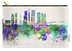 Tokyo V3 Skyline In Watercolor Background Carry-all Pouch by Pablo Romero