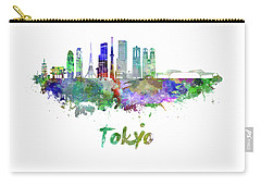 Tokyo V3 Skyline In Watercolor Carry-all Pouch by Pablo Romero