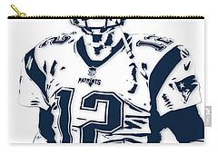 Tom Brady New England Patriots Pixel Art 6 Carry-all Pouch by Joe Hamilton