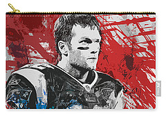 Tom Brady Red White And Blue Carry-all Pouch by John Farr
