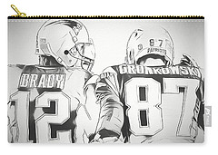 Carry-all Pouch featuring the drawing Tom Brady Rob Gronkowski Sketch by Dan Sproul