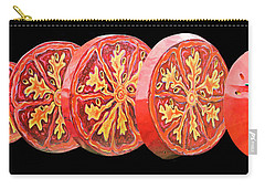 Tomato On Black Background Carry-all Pouch by Kristin Elmquist